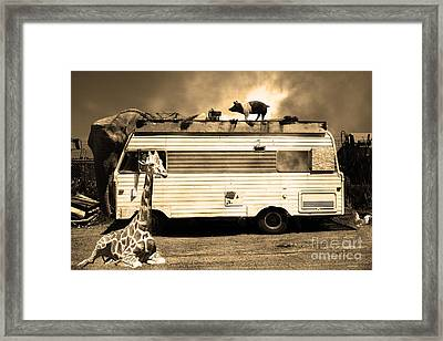 Rv Trailer Park 5d22705 Sepia Framed Print by Wingsdomain Art and Photography