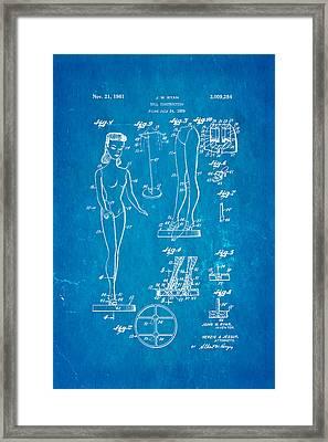 Ryan Barbie Doll Patent Art 1961 Blueprint Framed Print by Ian Monk