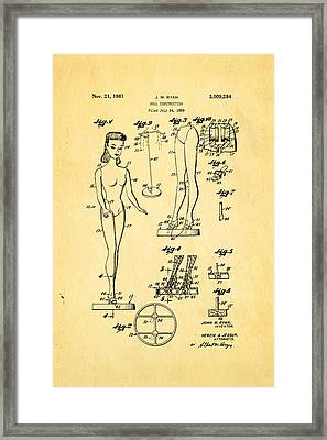 Ryan Barbie Doll Patent Art 1961 Framed Print by Ian Monk