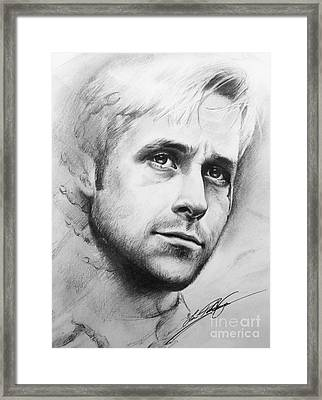 Ryan Gosling Framed Print by Lin Petershagen