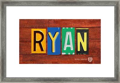 Ryan License Plate Name Sign Fun Kid Room Decor. Framed Print