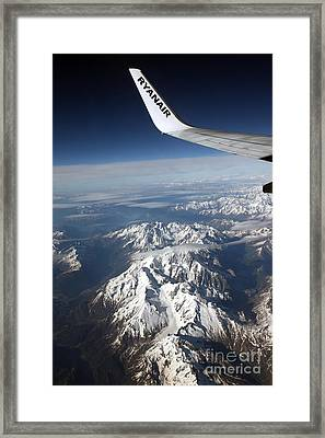 Ryanair Over The Alps Framed Print by Ros Drinkwater