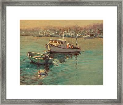 Rye Harbor Lobstermen Framed Print