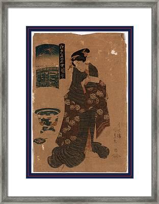 Ryogoku No Hanabi, Fireworks At Ryogoku. Between 1818 Framed Print