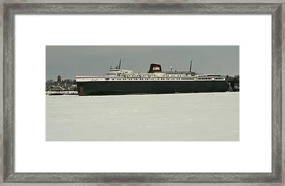 S S Badger In Frozen Ludington Harbor  Framed Print by Dave Zuker