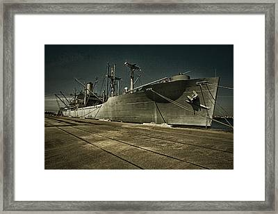Framed Print featuring the photograph S. S. Lane Victory ... W W 2 Era Victory Class Cargo Ship by Chuck Caramella