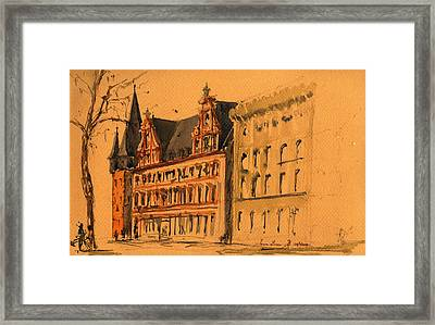Saalhof And The Rententurm Frankfurt Am Main Framed Print
