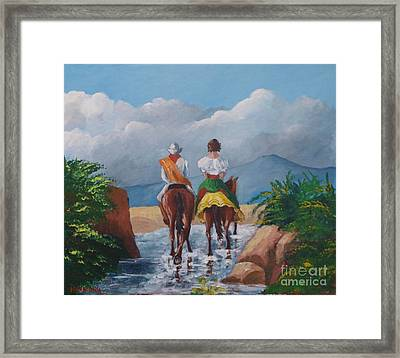 Sabanero And Wife Crossing A River Framed Print