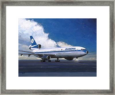 Sabena Dc-10 At Kinshasa Framed Print by Nop Briex