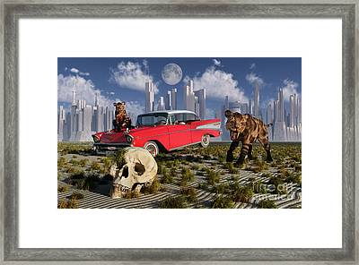 Sabre-toothed Tigers Find A 1950s Framed Print by Mark Stevenson