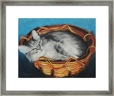 Sabrina In Her Basket Framed Print by Jeanne Fischer