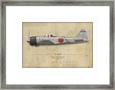 Saburo Sakai A6m Zero - Map Background Framed Print by Craig Tinder