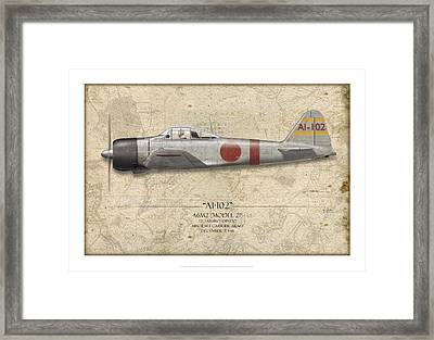 Saburo Shindo A6m Zero - Map Background Framed Print by Craig Tinder