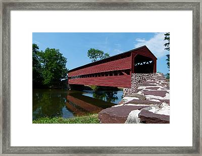 Framed Print featuring the photograph Sachs Covered Bridge by Cindy McDaniel