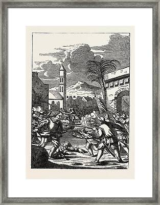 Sack Of Puerto Del Principe. From The History Framed Print