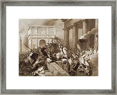 Sack Of Rome By The Visigoths Led By Alaric I In 410 Framed Print by Bridgeman Images
