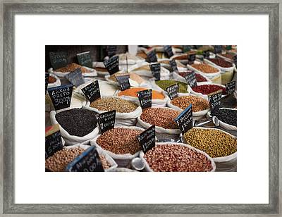 Sacks Of Beans And Grains In Market Framed Print by Ktsdesign/science Photo Library