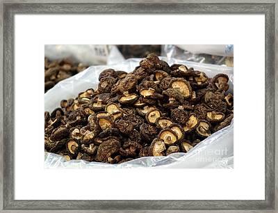 Sacks With Dried Mushrooms Framed Print by Yali Shi