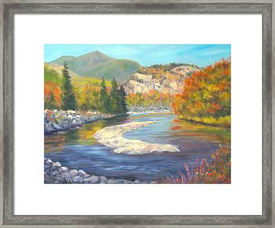 Saco River And Cathedral Ledge, North Conway, Nh Framed Print by Elaine Farmer