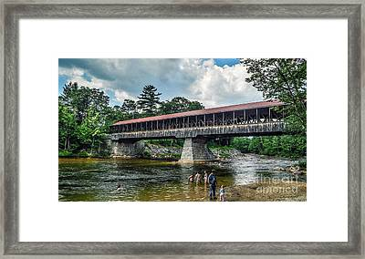 Framed Print featuring the photograph Saco River Covered Bridge  by Debbie Green