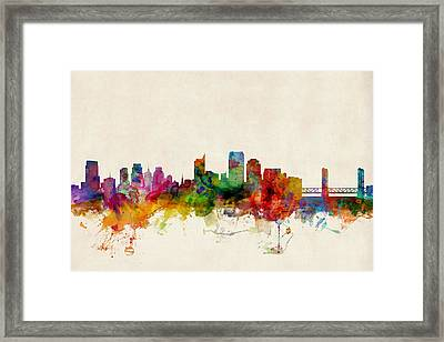 Sacramento California Skyline Framed Print by Michael Tompsett