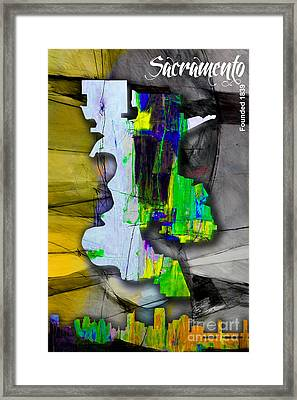 Sacramento Map And Skyline Watercolor Framed Print by Marvin Blaine