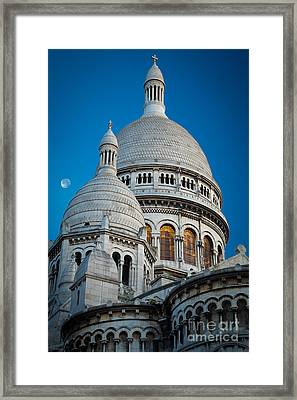 Sacre-coeur And Moon Framed Print by Inge Johnsson