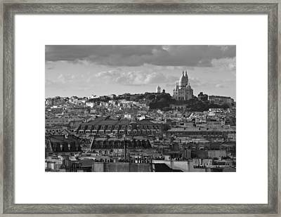 Sacre Coeur Over Rooftops Black And White Version Framed Print by Gary Eason