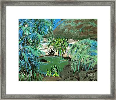 Framed Print featuring the painting Sacred Cenote At Chichen Itza by Alys Caviness-Gober