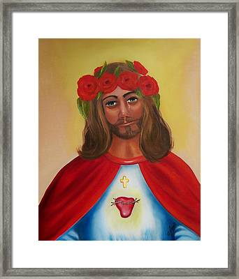 Sacred Heart- Crown Of Roses Framed Print by Joni McPherson
