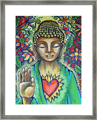 Sacred Heart Of Buddha Framed Print by Shelley Bredeson