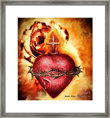 Sacred Heart Of Jesus Christ With Rose Framed Print by Annie Zeno