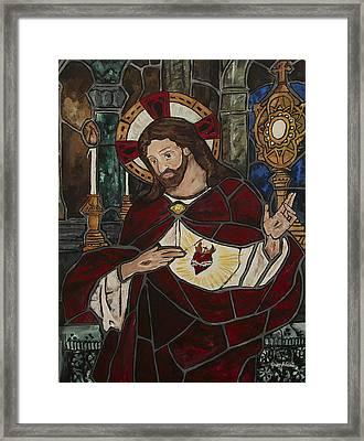 Sacred Heart Of Jesus Framed Print by Greg Willits