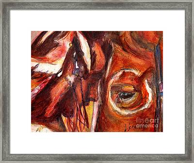 Sacred Horse With Indian Framed Print by Jodie  Scheller