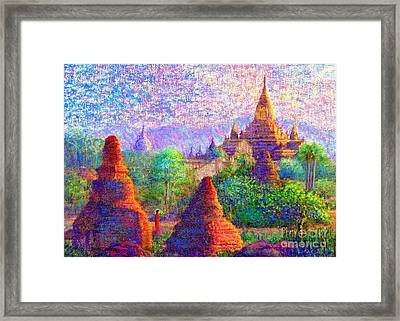 Bagan, Burma, Sacred Spires Framed Print by Jane Small