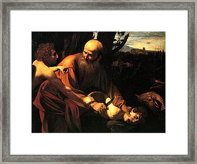 Sacrifice Of Issac Framed Print by Caravaggio