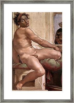 Sacrifice Of Noah - Ignudo Detail Framed Print by Michelangelo Buonarroti