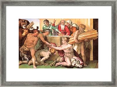 Sacrifice Of Noah Framed Print by Michelangelo Buonarroti