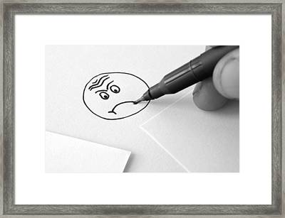 Sad Face Drawing  Framed Print by Ioan Panaite