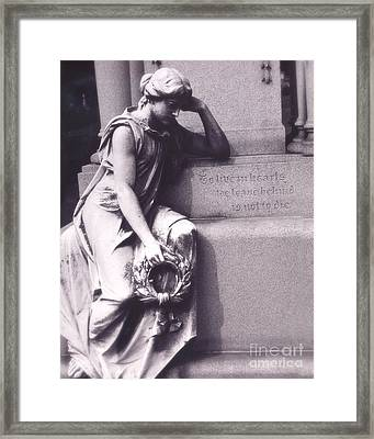 Sad Female Figure At Grave - Haunting Cemetery Female Mourner On Grave Framed Print by Kathy Fornal