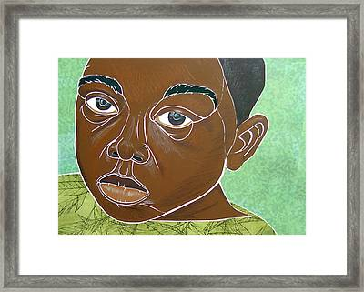 Sad Little Boy Framed Print