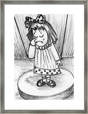 Framed Print featuring the painting Sad Little Puppet Girl by Joyce Gebauer