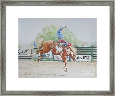 Saddle Bronc Framed Print by Charlotte Yealey