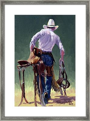 Saddle Bronc Rider Framed Print by Randy Follis