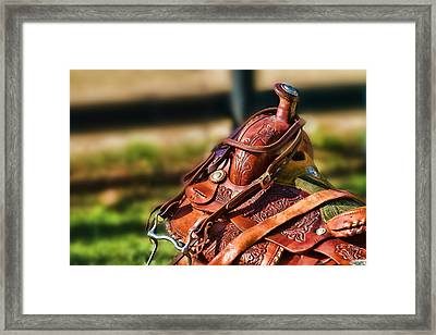 Saddle In Waiting Western Saddle Horse Framed Print