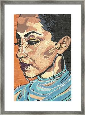 Framed Print featuring the painting Sade Adu by Rachel Natalie Rawlins