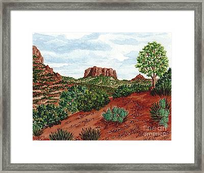 Sadona Two Mountains Framed Print by Val Miller