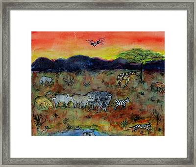 Safari In The Masia Mara Framed Print