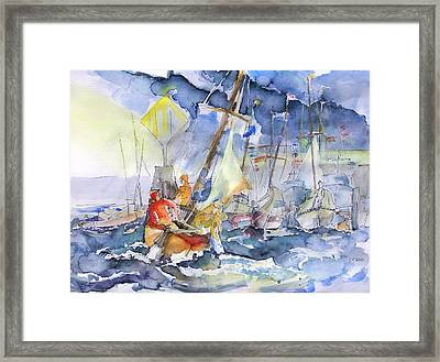 Safe And Sound Back At The Port Framed Print by Barbara Pommerenke