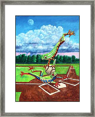 Safe At Home Plate? Framed Print